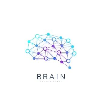 Logo de cerveau de modèle vectoriel coloré