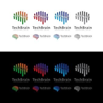 Logo de cerveau de technologie