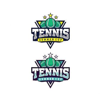 Logo de championnat de tennis premium avec insigne de conception illustration balle