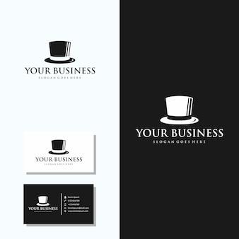 Logo de chapeau minimaliste avec design de carte de visite