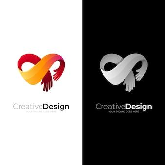 Logo de charité abstraite avec communauté de conception d'amour, logo coeur et main de personnes s