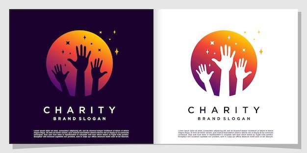 Logo de charité avec le concept de cercle et d'étoile vecteur premium