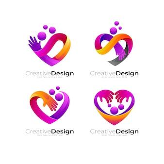 Logo de charité avec illustration de conception d'amour, logo de coeur et icône de main