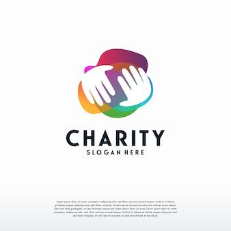 Logo de charité de personnes colorées, modèle de conception de logo d'aide, de soins, de soins de santé