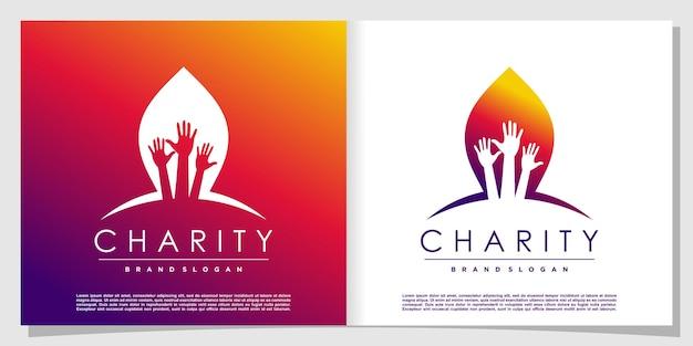 Logo de charité avec un style abstrait créatif vecteur premium