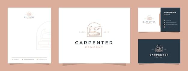 Logo de charpentier avec carte de visite et papier à en-tête