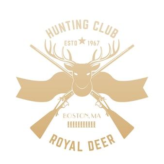 Logo de chasse, emblème vintage avec tête de cerf et fusils de chasse, or sur blanc
