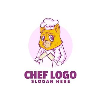 Logo de chat chef isolé sur blanc