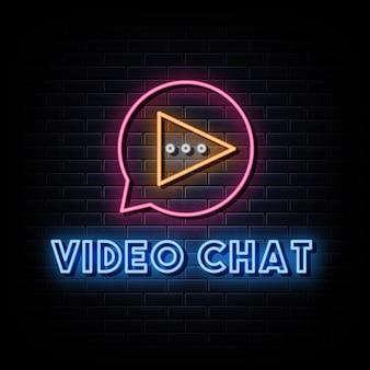 Logo de chat vidéo enseignes au néon