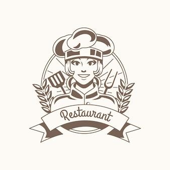 Logo de chef féminin détaillé
