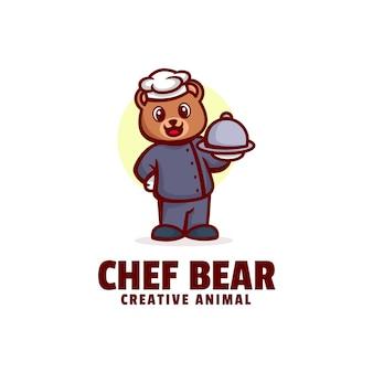 Logo chef ours mascotte dans style dessin animé