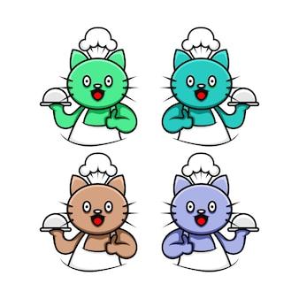 Logo de chef de personnage mignon chat