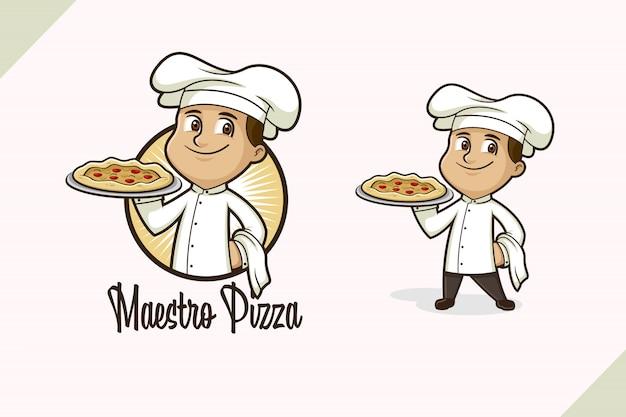 Logo de chef de pizza