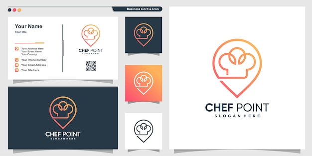 Logo de chef avec style d'art de ligne d'emplacement de point et modèle de conception de carte de visite vecteur premium