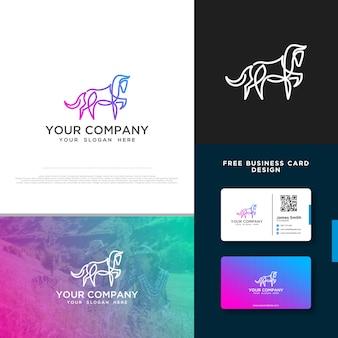 Logo de cheval avec conception de carte de visite gratuite