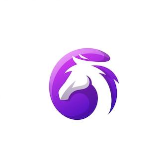 Logo de cheval de couleur moderne