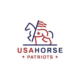 Logo de cheval drapeau américain