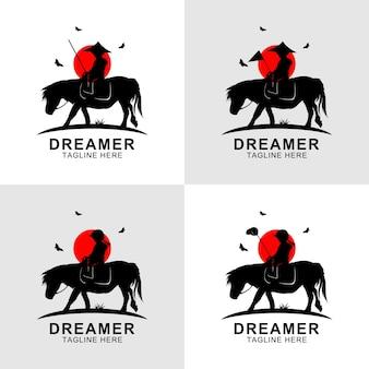 Logo de cheval d'équitation de silhouette de rêveur au coucher du soleil