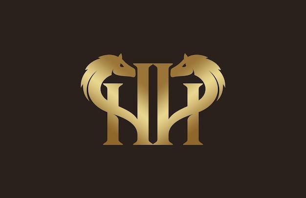 Logo de cheval initial de luxe simple