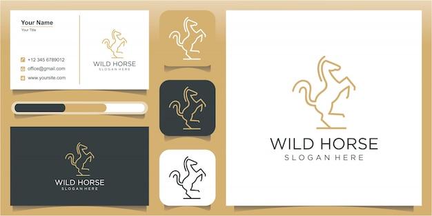 Logo cheval avec ligne art concept contour monoline
