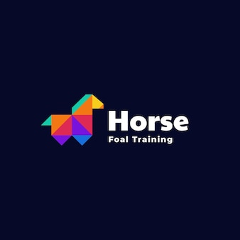 Logo cheval style low poly