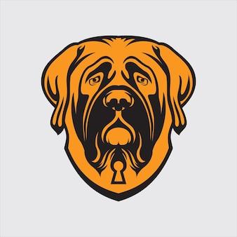 Logo de chien sur fond jaune