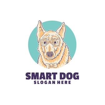 Logo de chien intelligent