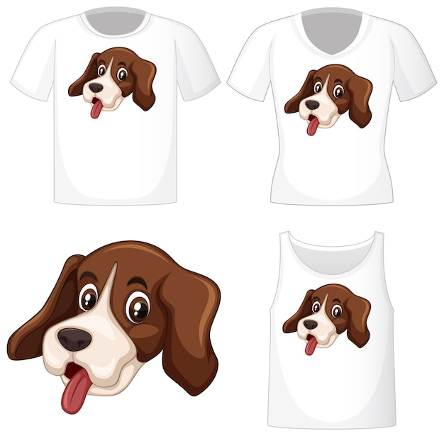 Logo de chien mignon sur différentes chemises blanches isolées