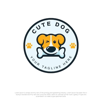 Logo de chien mignon avec un style kawaii