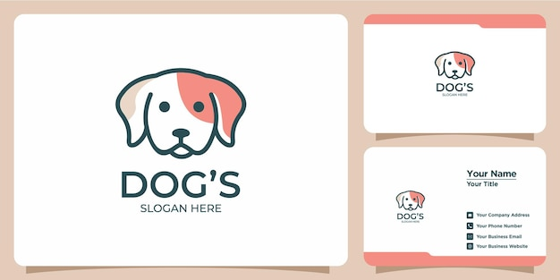 Logo de chien minimaliste avec création de logo moderne et carte de visite