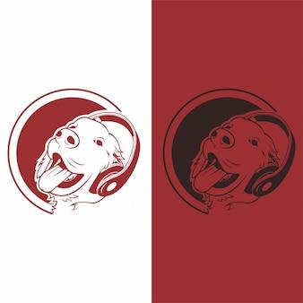 Logo de chien plat prime vector dessiné à la main pour la bannière