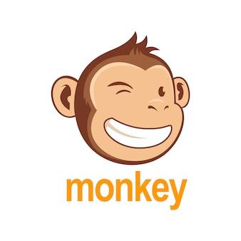 Logo de chimpanzé de singe et blanc