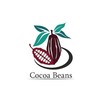 Logo de chocolat et icône de cacao et écrou de conception de vecteur et écrou délicieux