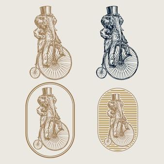 Logo de cirque de café vintage elephant bycicle