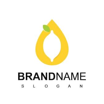 Logo de citron vert avec symbole de goutte d'eau