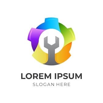 Logo de clé à engrenages, engrenage et clé, logo combiné avec style coloré 3d