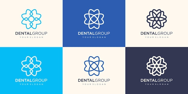 Logo de clinique dentaire avec un concept de fleur circulaire