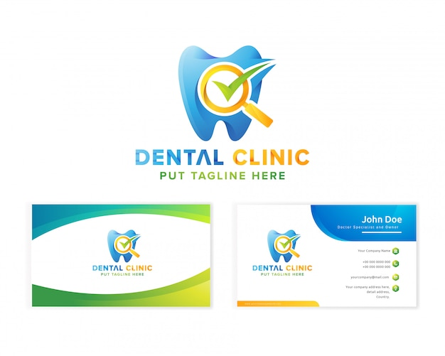 Logo de clinique dentaire médicale avec carte de visite pour entreprise