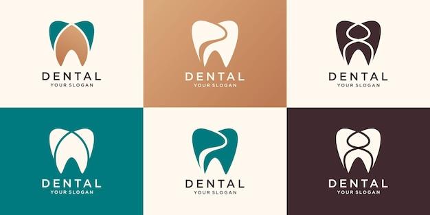 Logo de la clinique dentaire modèle vectoriel de conception abstraite de dent. icône de concept de logotype de médecin dentiste.