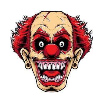 Logo de clown rouge effrayant