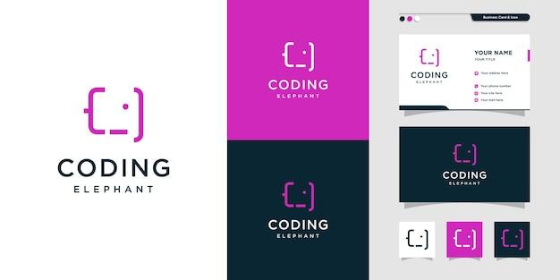 Logo de codage avec ordinateur internet de conception créative de look d'éléphant vecteur premium