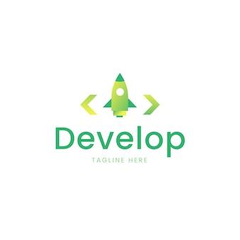 Logo de code dégradé avec slogan