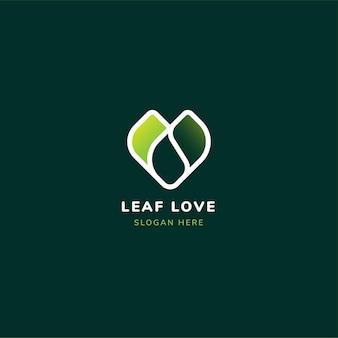 Logo de coeur d'amour de feuille avec une couleur verte dégradée.