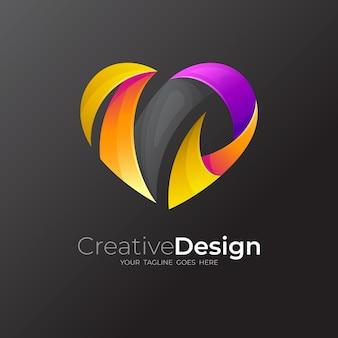 Logo de coeur avec la conception sociale de charité, icône de ruban