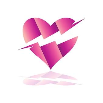 Logo de coeur avec des variations de foudre