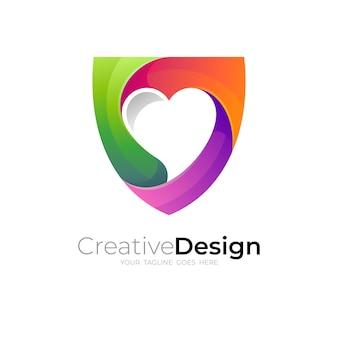 Logo coeur avec vecteur de conception de bouclier, 3d coloré