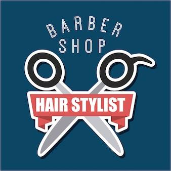 Logo de coiffeur et coiffeur