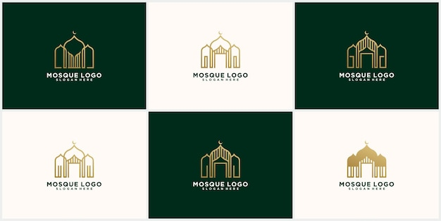 Logo collection mosquée logo template design en couleur dorée