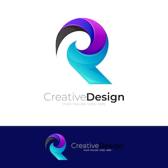 Logo coloré abstrait et icône de la lettre r