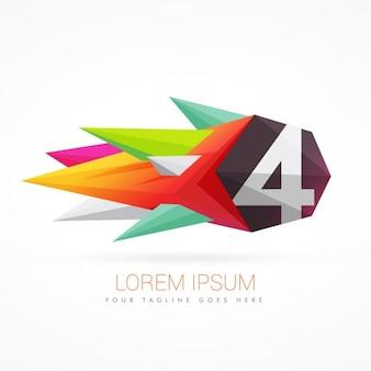 Logo coloré abstrait avec le numéro 4